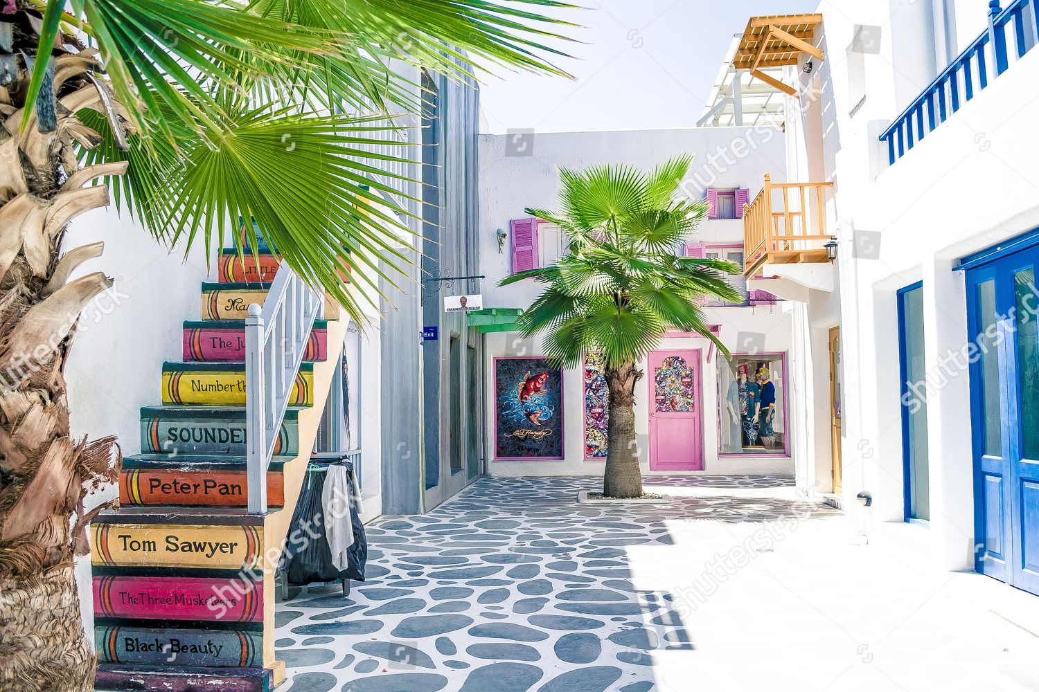 Mandatory Credit: Photo by Sipa Asia/Shutterstock (9350679k) The Santorini Park is a tourist attraction located in Hua Hin, Thailand, combining Greece with Thai style. The park is a replica of the Santorini Island. Tourists can enjoy beautiful scenery of Santorini without flying to Greece. Santorini Park in Hua Hin, Thailand - 01 Feb 2018